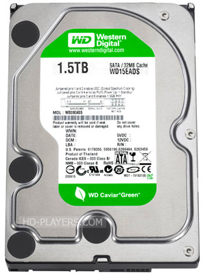 Жесткий диск WD Caviar Green HDD 1.5Tb (WD15EARS) вид сзади