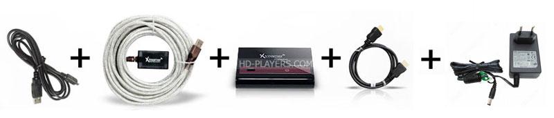 Xtreamer DisplayPod USB в HDMI адаптер для подключения ПК в ТВ - комплект поставки